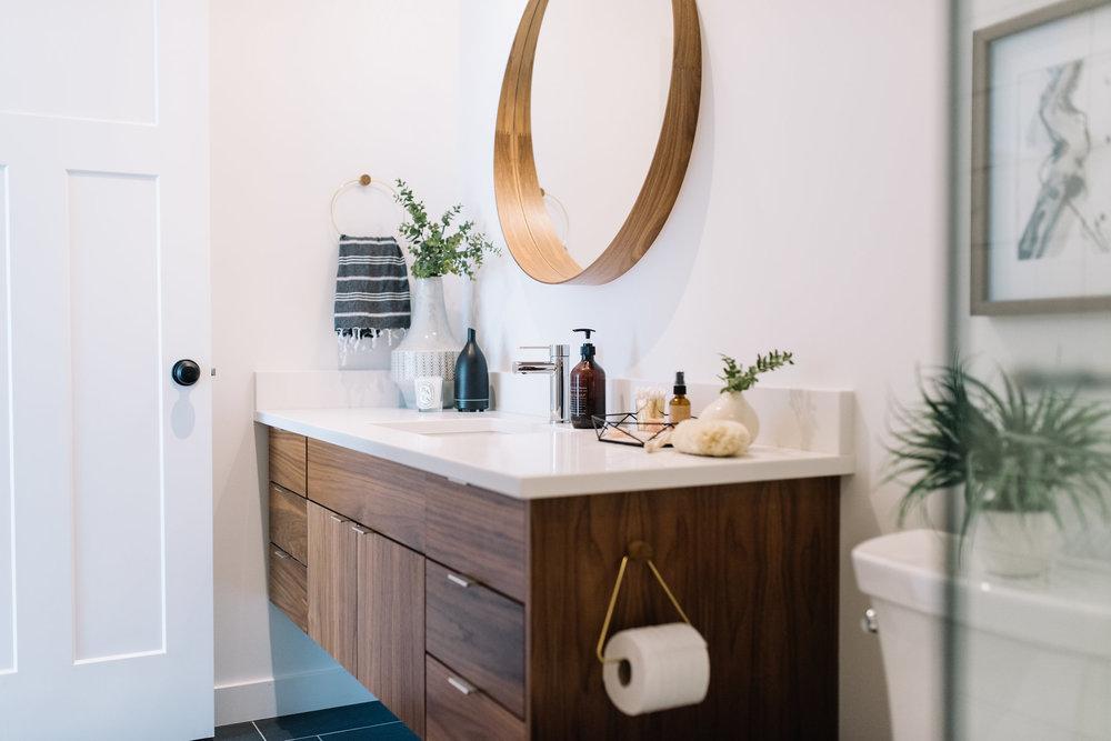white and walnut bathroom