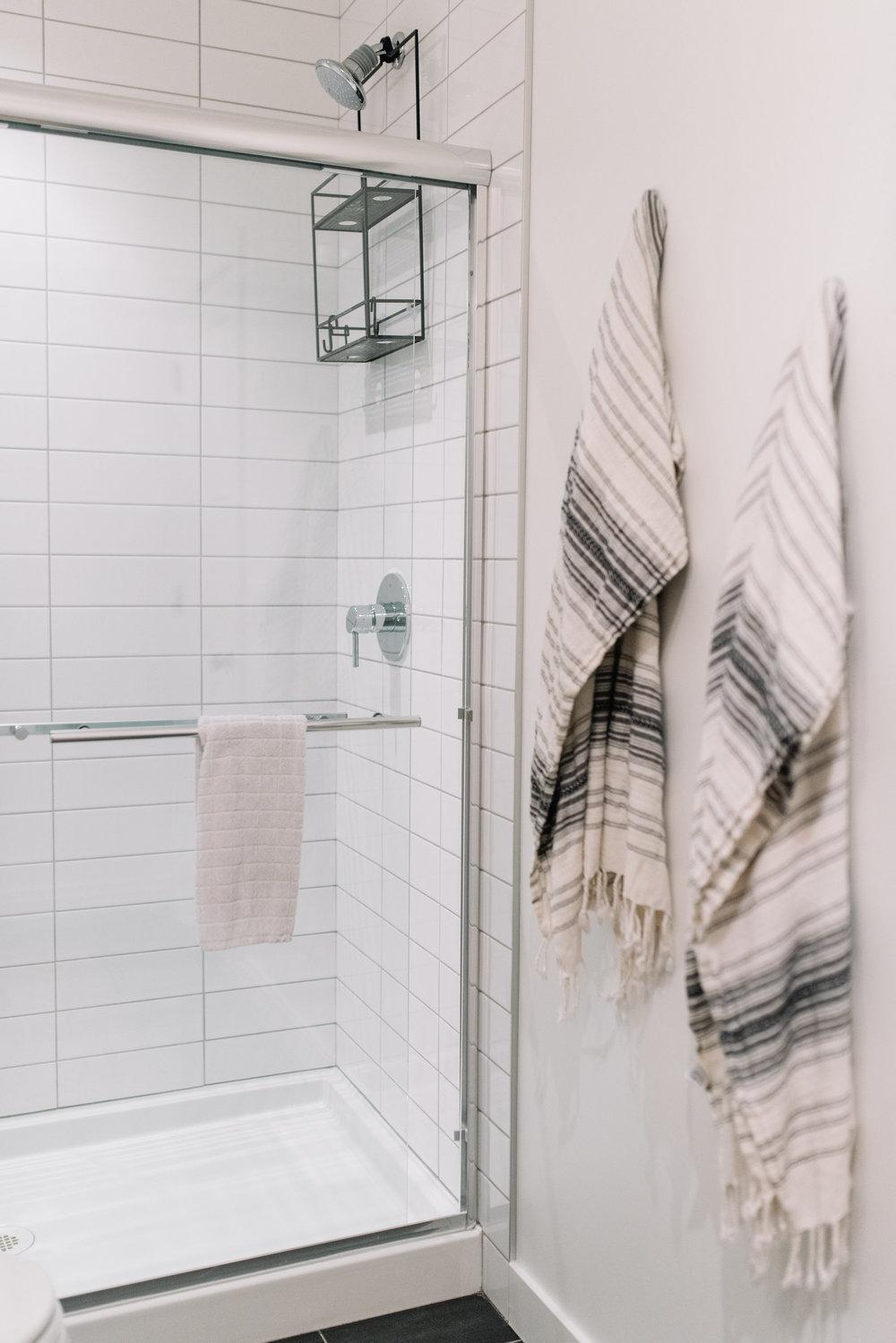 white subway tile, shower