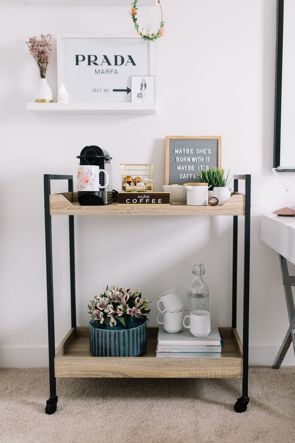 style bar cart as coffee station