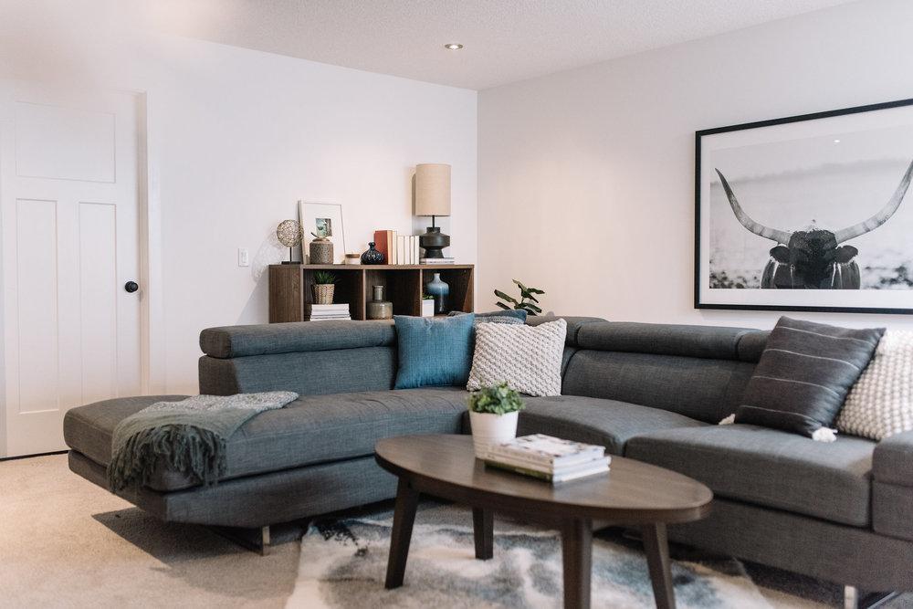 modern masculine basement