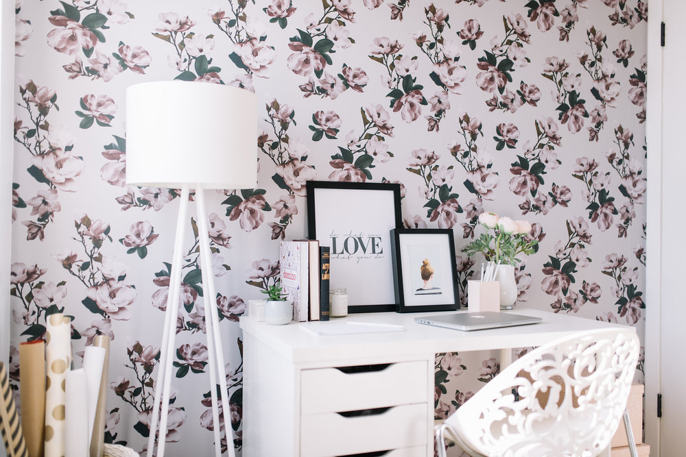 floral wallpaper, feminine office