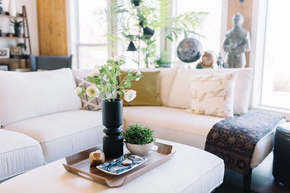 styling an ottoman as a coffee table