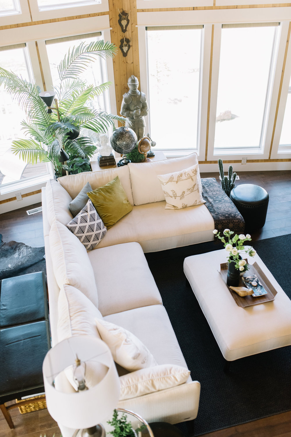 white sectional styling