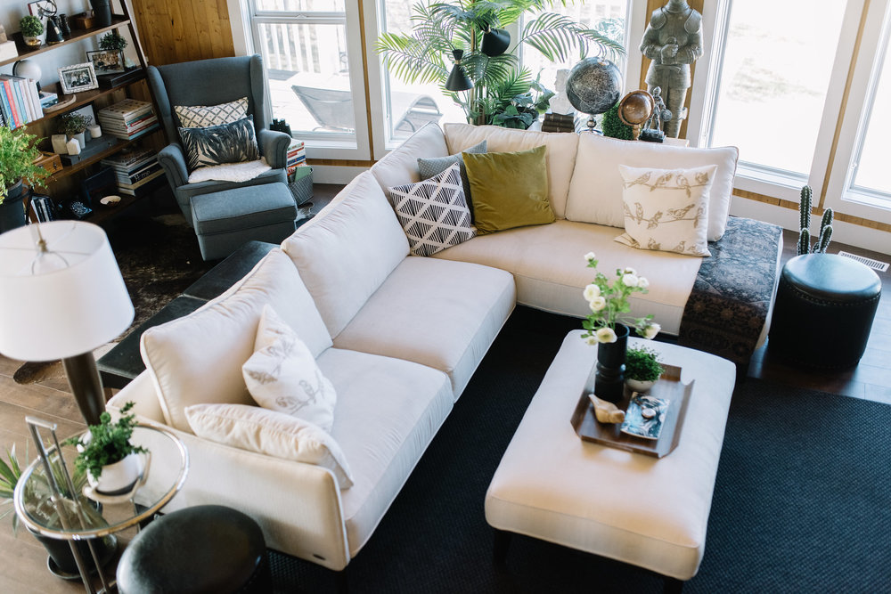 white modern sectional