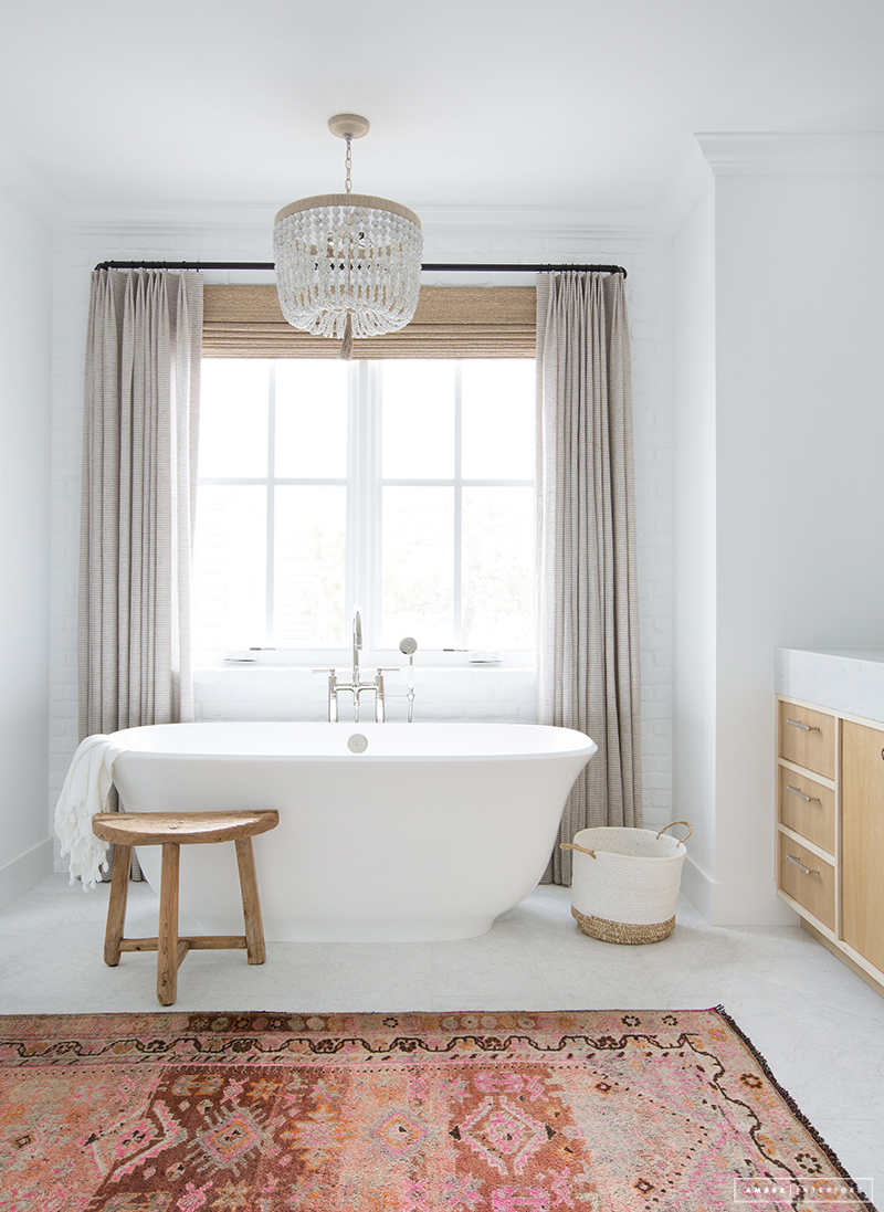 standalone tub, feminine bathroom