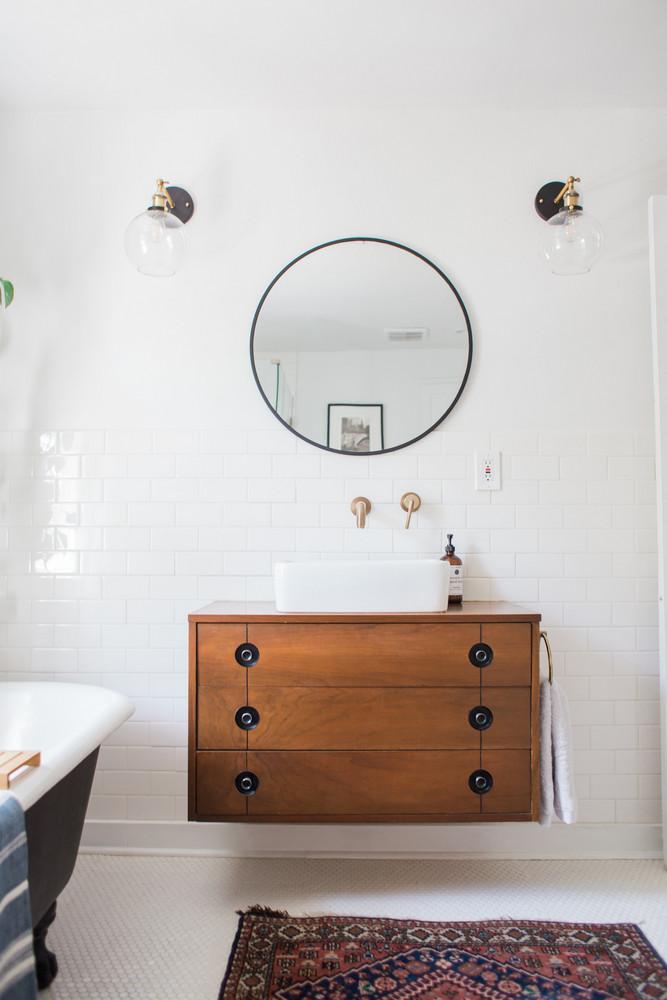 modern bathroom with black bathtub