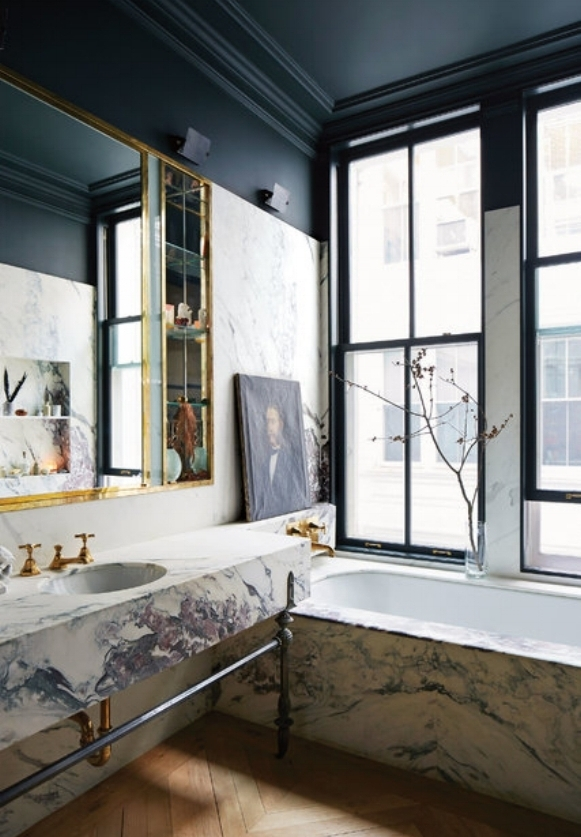 dramatic marble bathroom