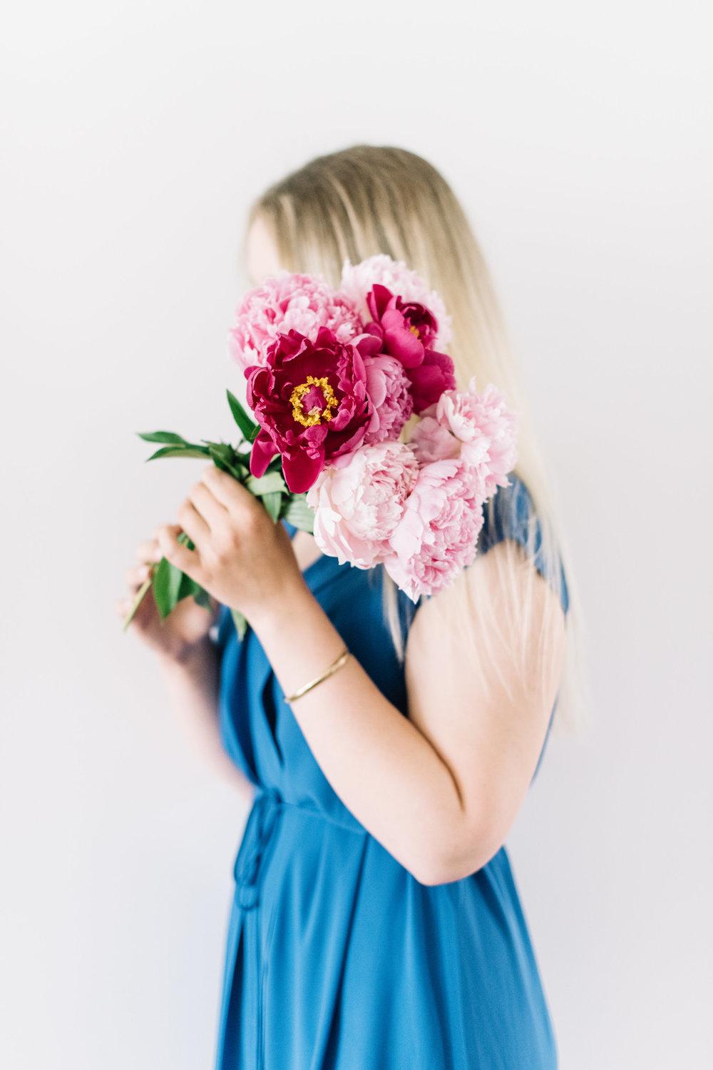 pink peonies, blue dress