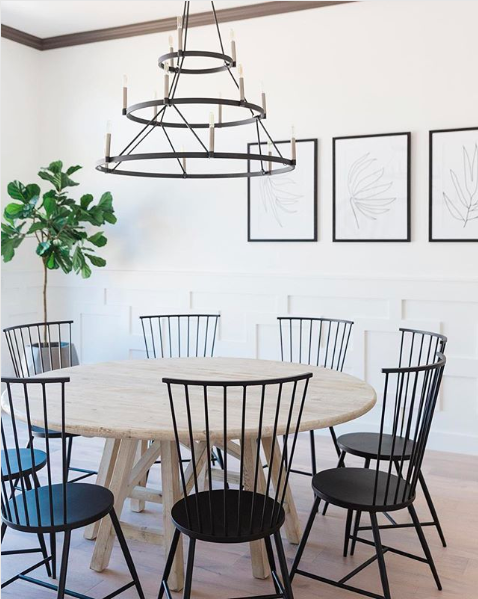 modern dining room with windsor chairs
