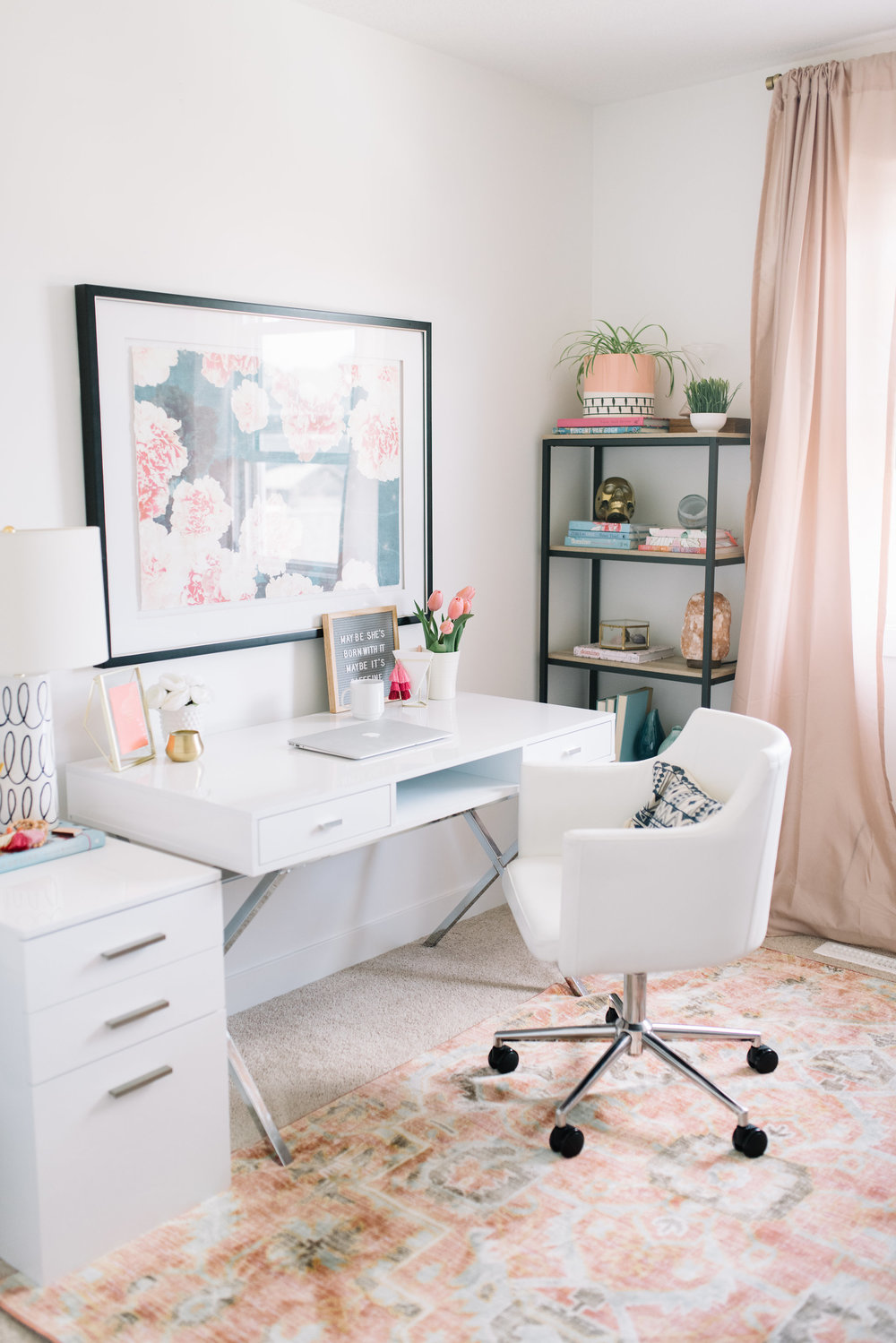 white office with pink accents
