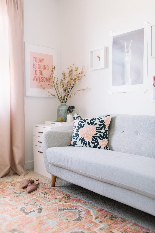 pink modern area rug