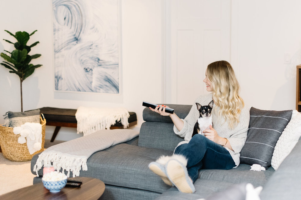 cozy modern basement