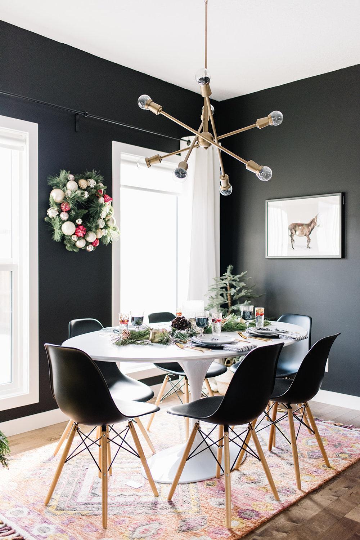 black dining room, modern dining room