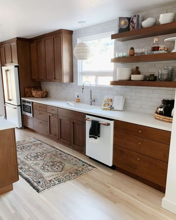 modern kitchen warm wood