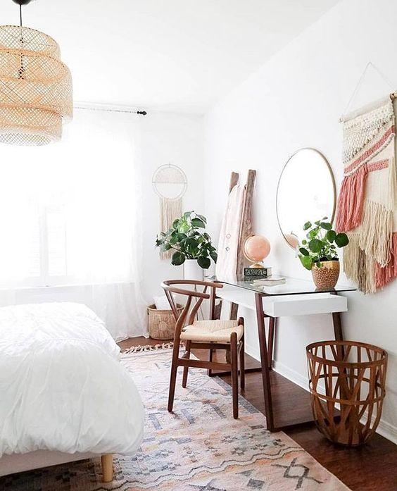 modern boho bedroom with desk