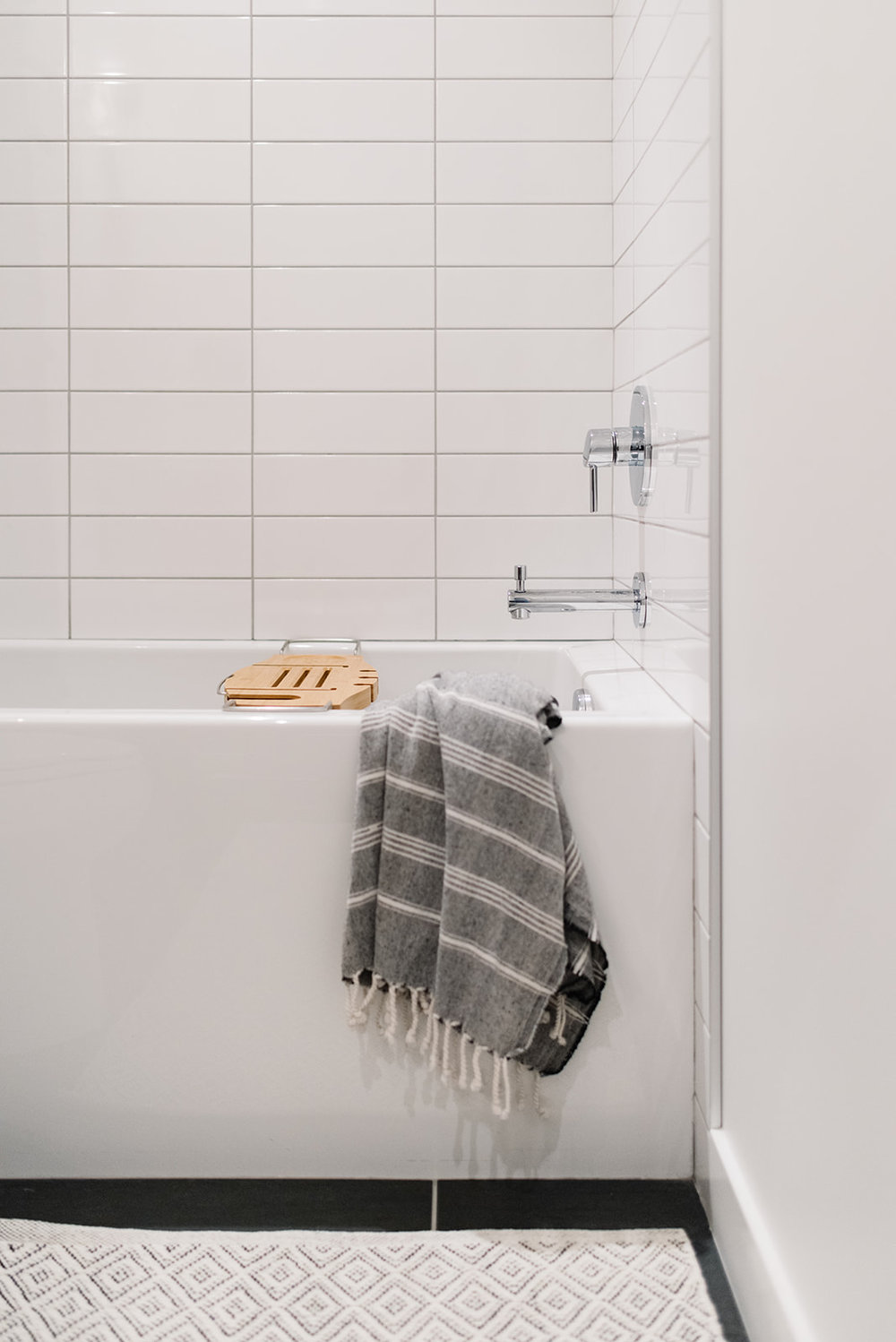 straight stacked subway tile, modern bathroom