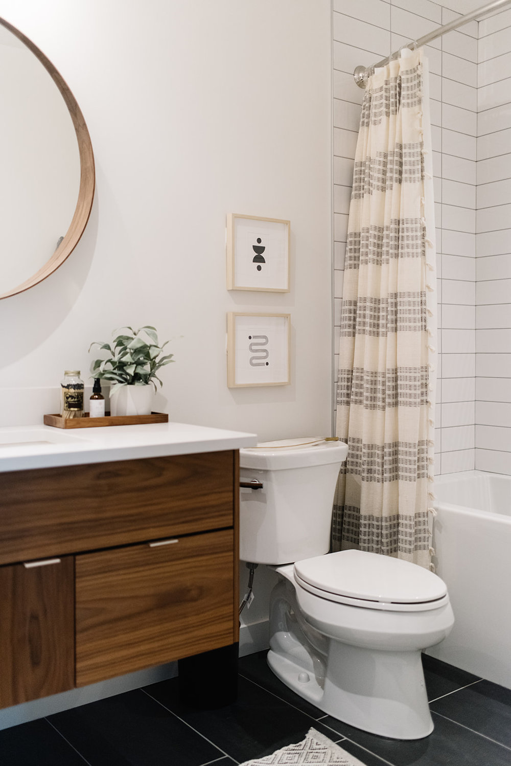 modern eclectic bathroom, floating walnut vanity