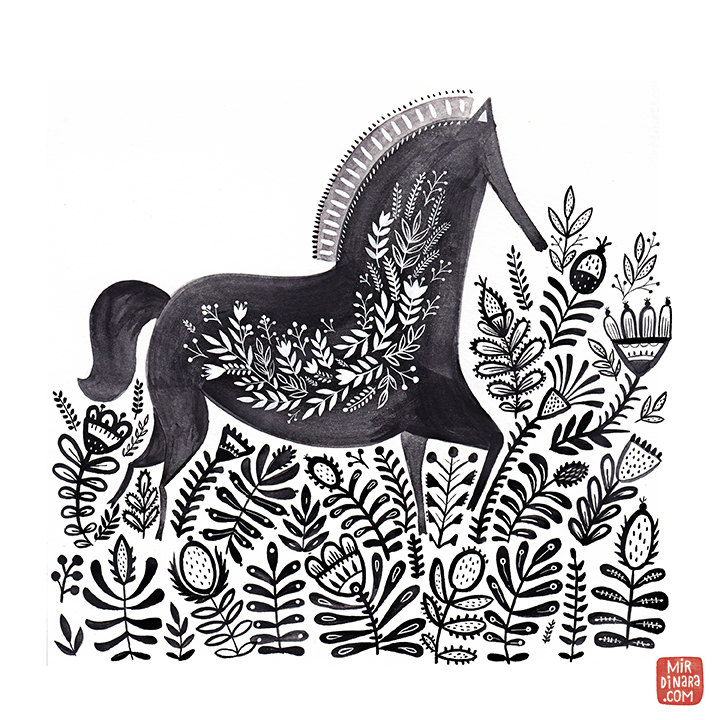 """Horse"" art print by Dinara Mirtalipova"