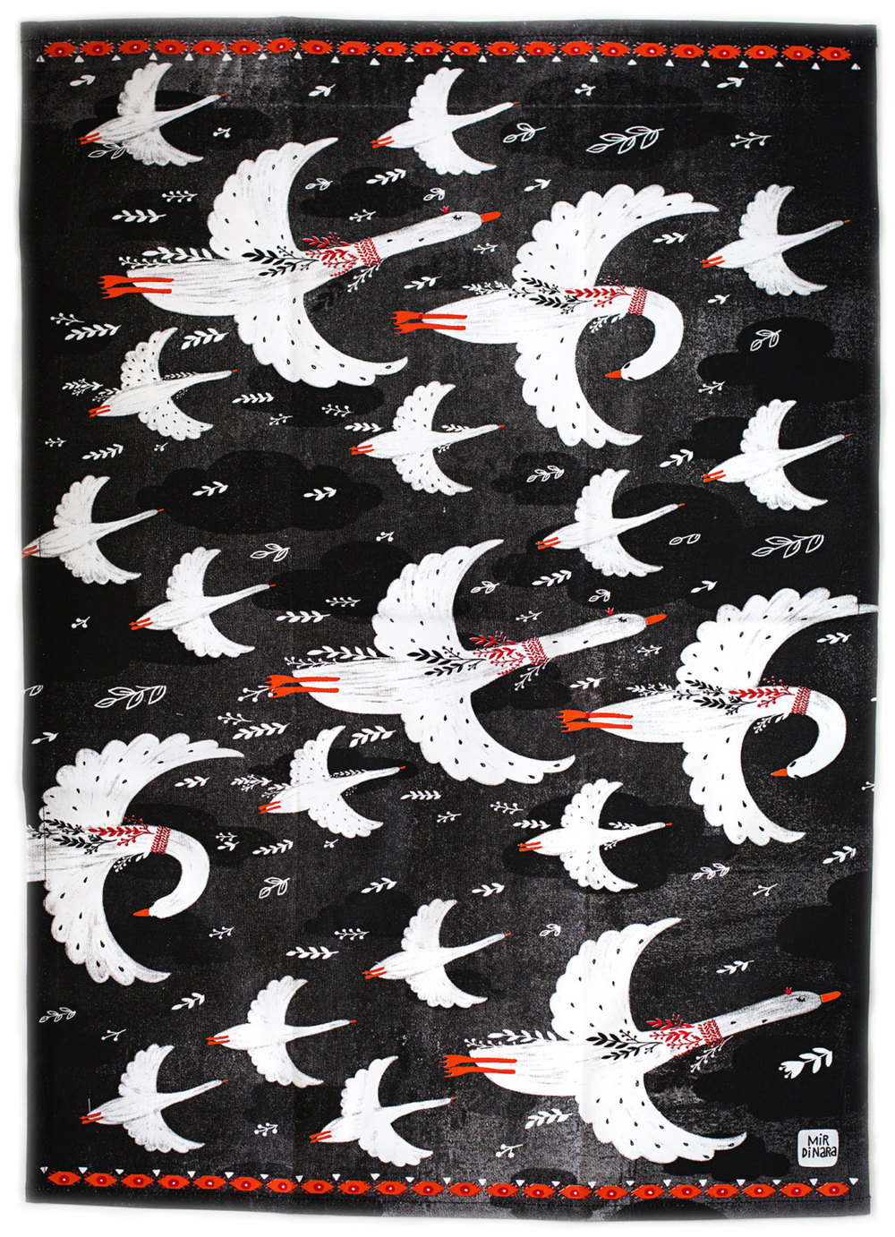 """Fly Geese"" tea towel by Dinara Mirtalipova"