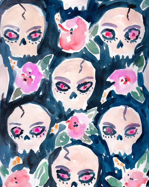""" skulls and hibiscus """