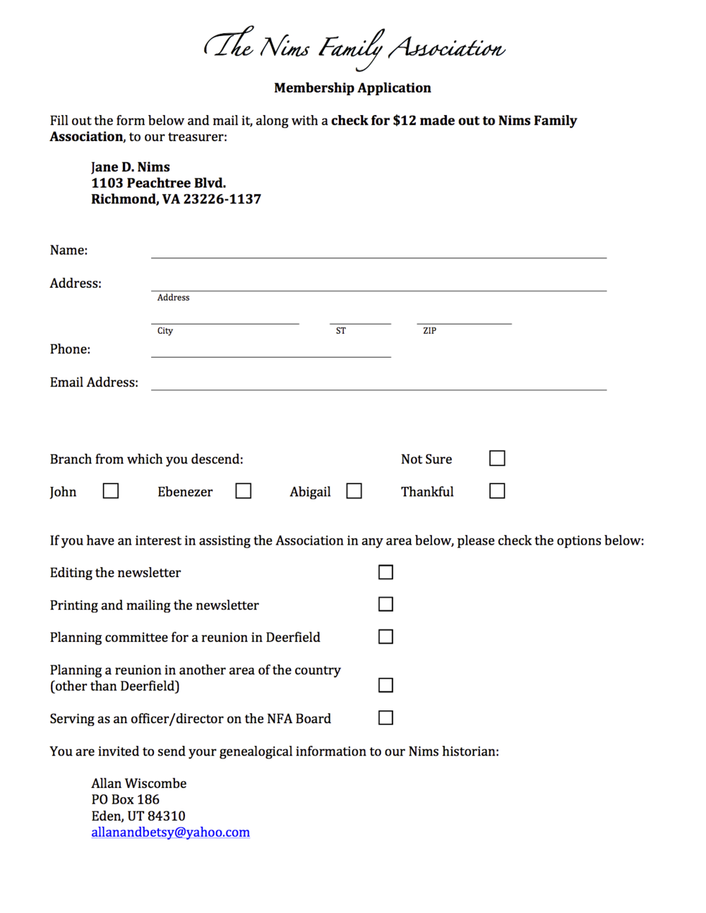 Click  here  to download a Nims Family Association membership application
