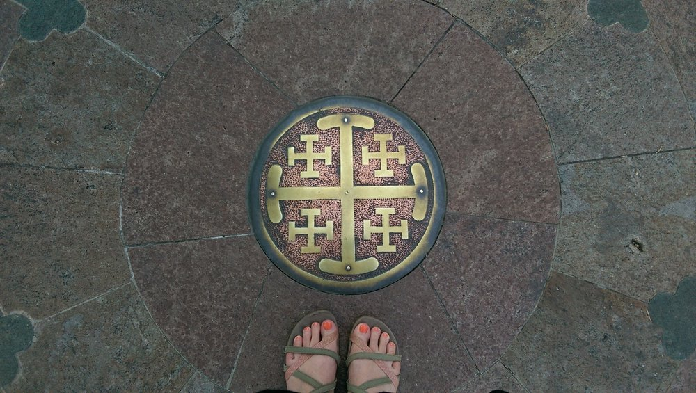 Labyrinth, Cathedral Basilica of St. Francis, Santa Fe, NM (photo: me and my cell phone)