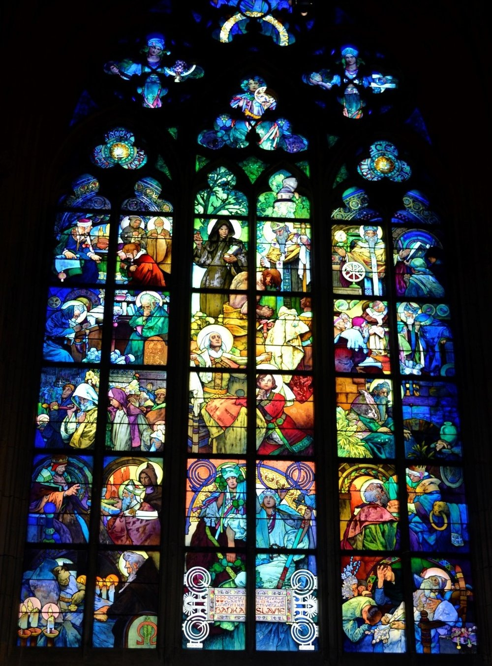 Alphonse Mucha window, St. Vitus Cathedral, Prague, photo: me and my cell phone