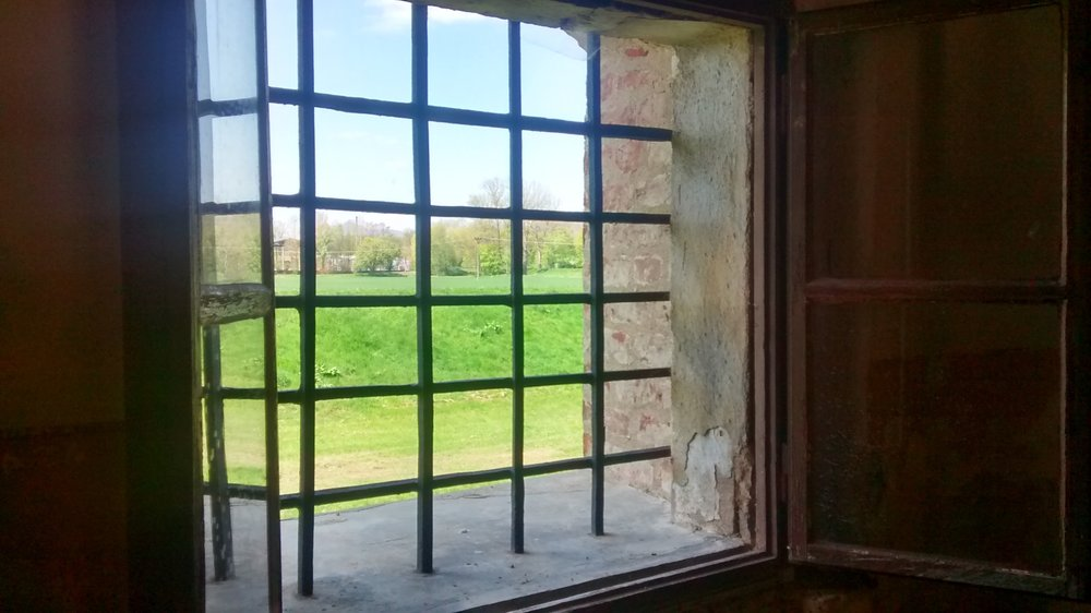 Barred window, Theresienstadt Concentration Camp, Czech Republic (photo: me and my cell phone)