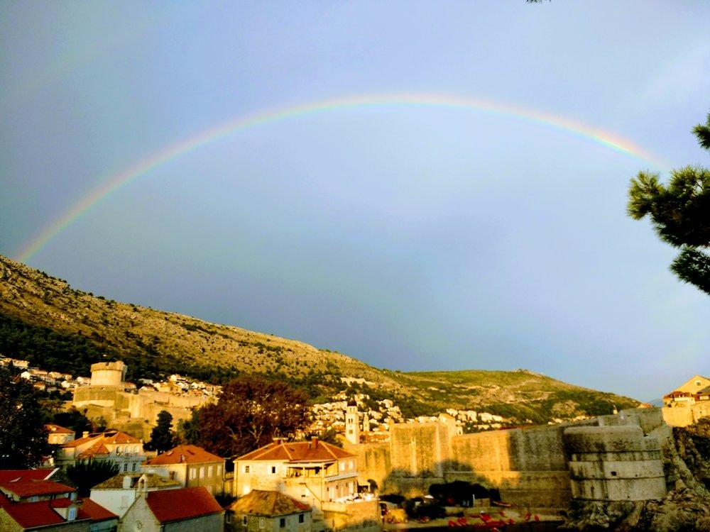 Rainbow over Old Town Dubrovnik, Croata