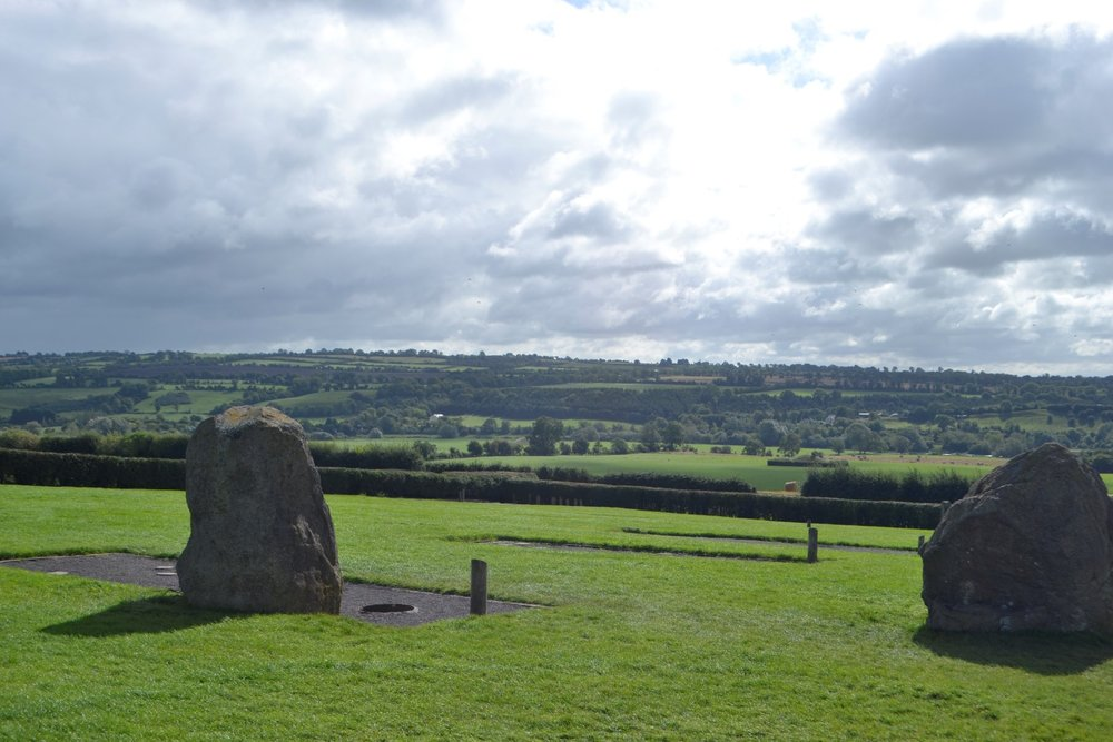 Looking away from the tomb, view over the Boyne River Valley with standing stones (photo: Andy Bruner)