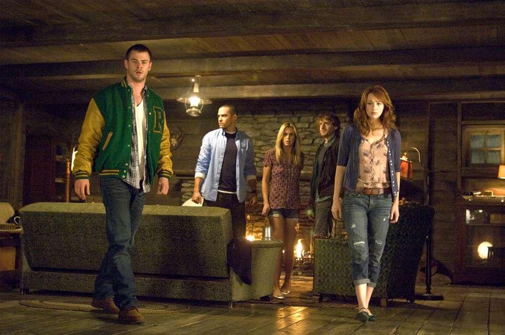Chris Hemsworth, Jesse Williams, Anna Hutchison, Fran Kranz, and Kristen Connolly star in The Cabin in the Woods  (2012).