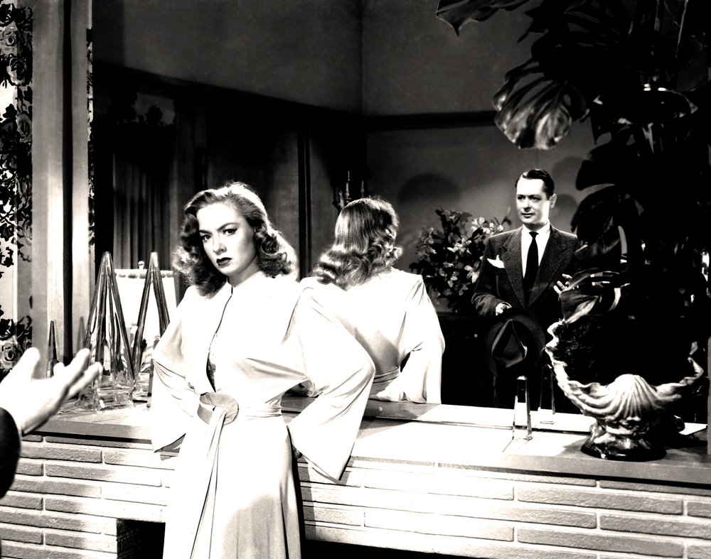 Audrey Totter and Robert Montgomery in film noir Lady in the Lake (1947).