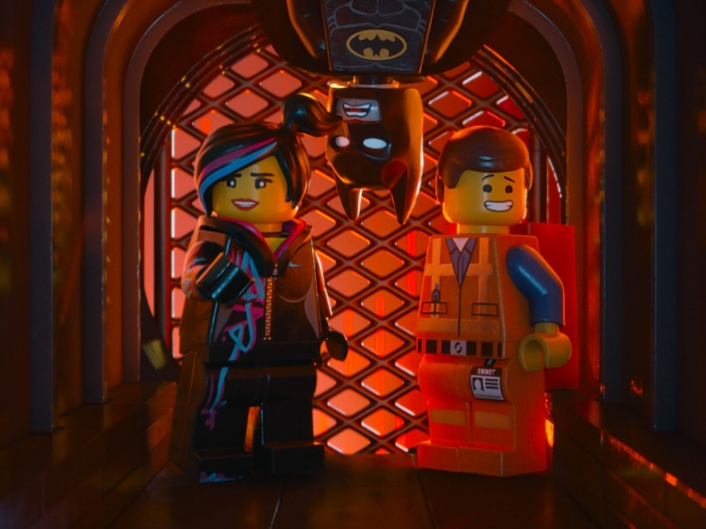 The one and only Batman stars alongside Emmet and Wyldstyle, voiced by Will Arnett, Chris Pratt, and Elizabeth Banks respectively in The Lego Movie (2014).