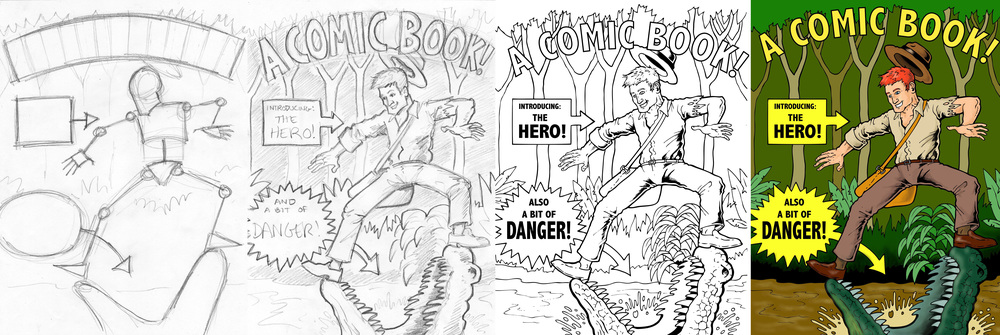 A sample comic book cover, from initial sketch to final copy.