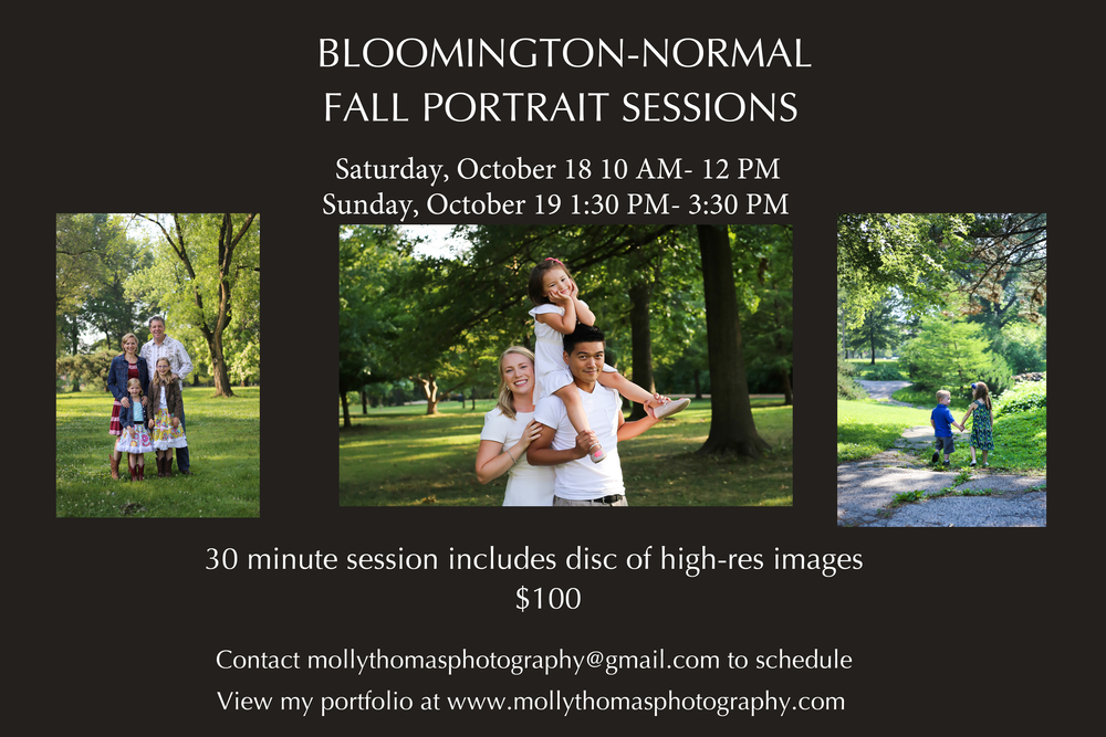 It's almost fall....the leaves will be changing, school is starting. Before we know it, Christmas time will be here! You'll be buying frames for Grandma to put new pictures of the kids in and ordering Christmas cards. So it's time to start thinking about your fall portrait session! Use it for family, couples, kids, even a maternity session!  2 convenient days and times, a disc of 15 high-res images that you can print wherever and whenever, all for $100!   Contact me at mollythomasphotography@gmail.com to schedule a session.
