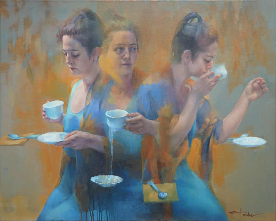 """Tea Leaves, 24"""" x 30"""", oil on linen"""