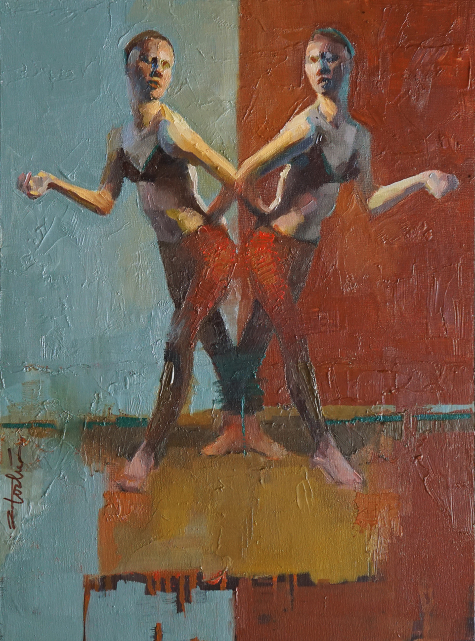 "Red Duo, 16"" x 12"", oil on panel"
