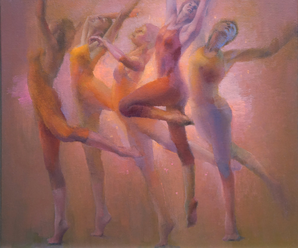 "Movement in Five, 20"" x 24"", oil on linen"