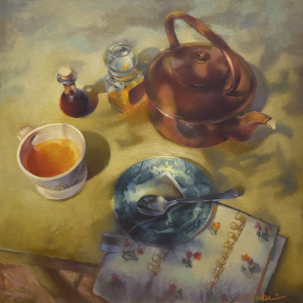 "Summer Tea Time, 24"" x 24"", oil on panel"