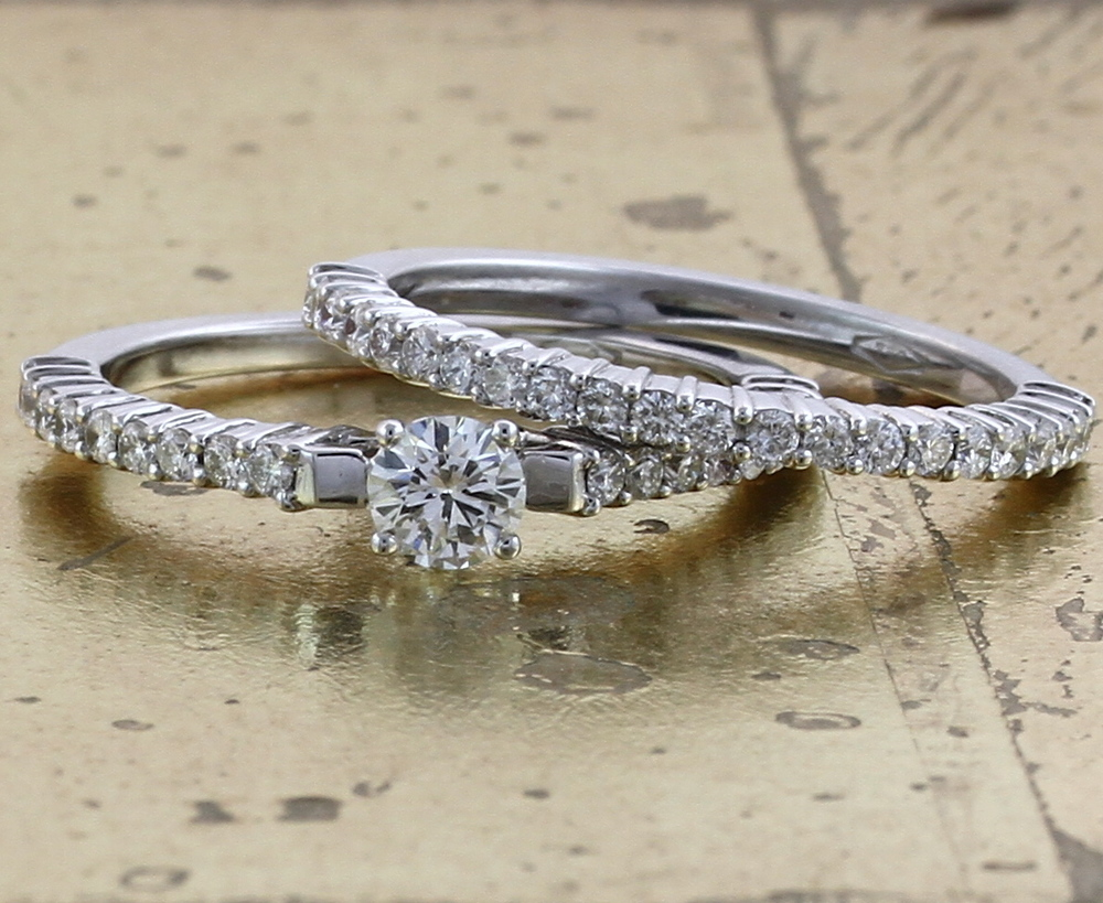 bridal prong solitaire bands pav wedding product sets set engagement pave six band ring