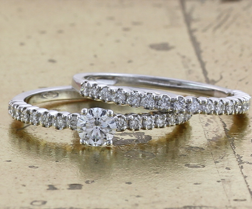 Diamond wedding Band & Engagement Ring Set - Item No: 0013006-0013007