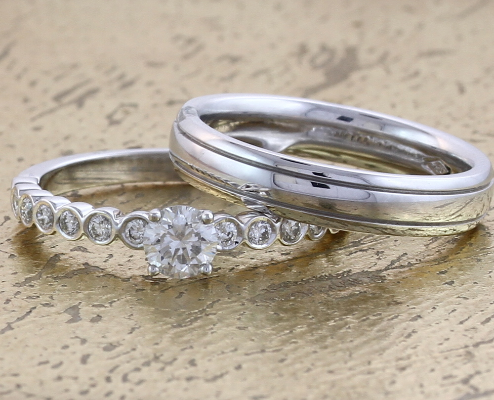 Wedding & Engagement Ring Set - Item No: 0013008-0013364