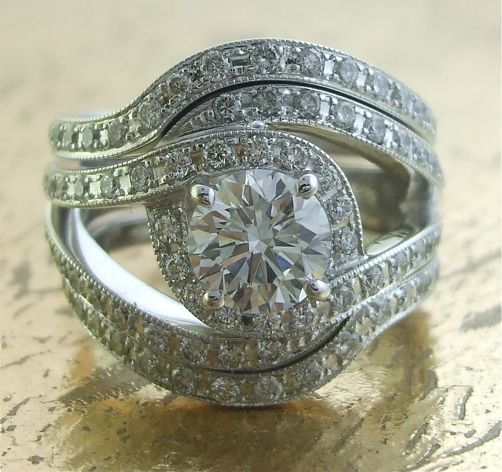 Stylish Wedding Band & Engagement Ring Set - Item No: 0013347-0013530