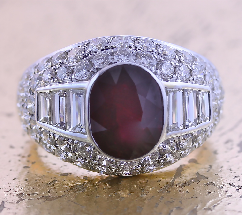Ruby Ring with Baguette and Round Diamonds - Item No: 0012154