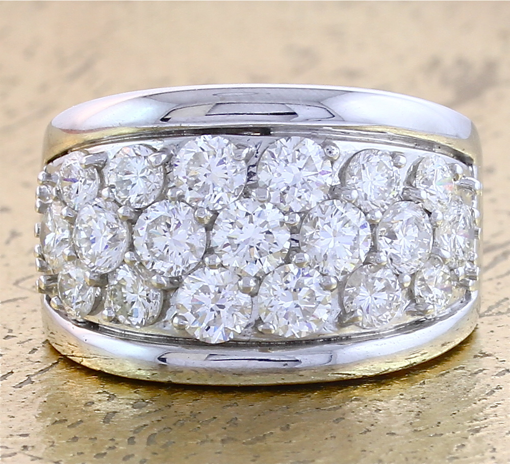 Cocktail Ring 3 rows Diamonds - Item No: 0013166