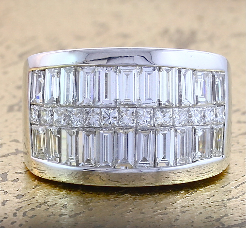 Cocktail Ring with Baguette and Princess cut Diamonds - Item No: 0011418