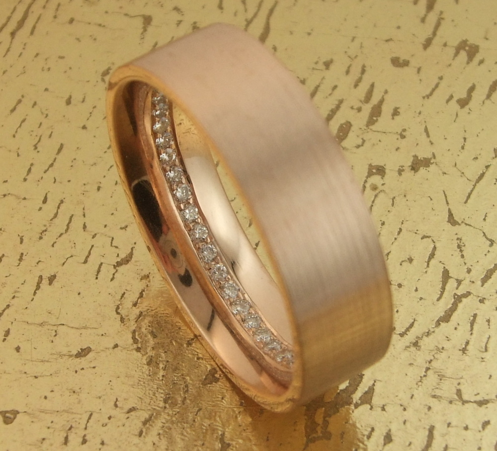Men's 18K Rose Gold Diamond Band set all around with inner Diamonds - Item No: 0013616A