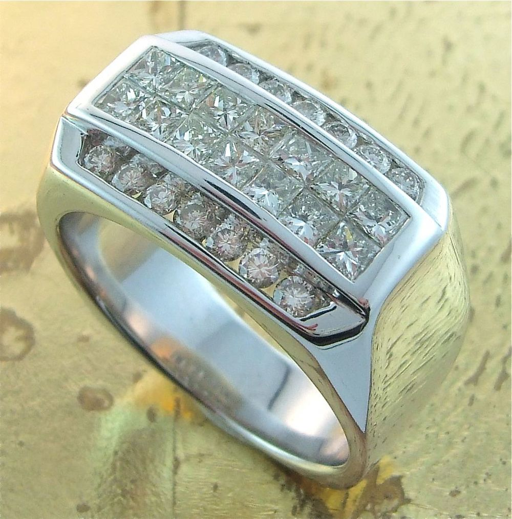 Men's Ring with Princess & Round Cut Diamonds - Item No: 0010278