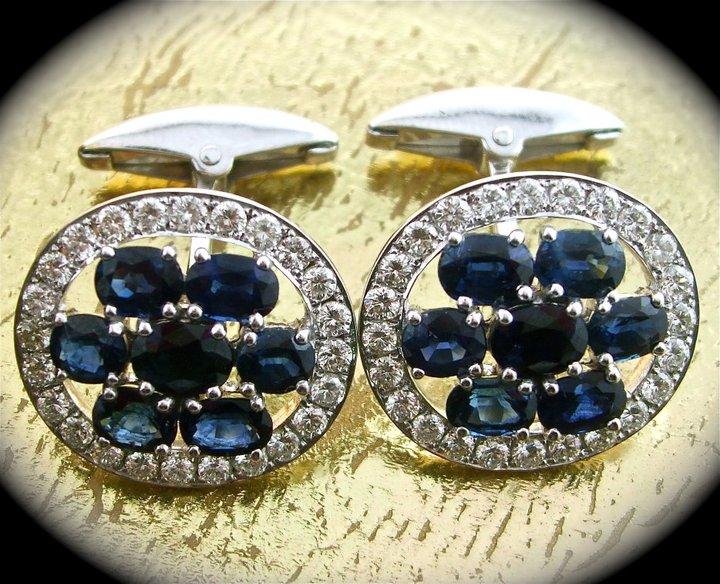 Sapphire & Diamond Cufflinks - Item No: 0013382
