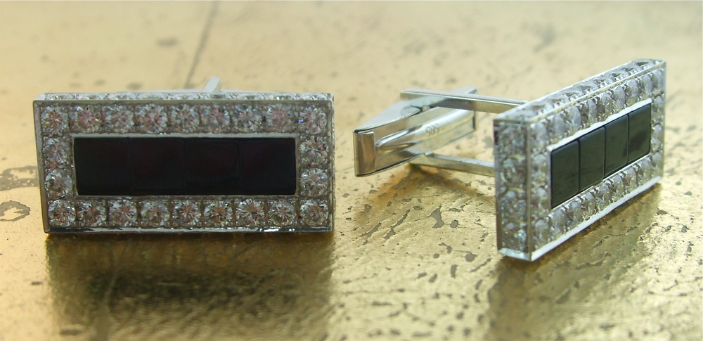 Cufflinks Black Onyx & Diamonds - Item No: 0013713